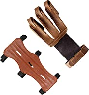 Techson Archery Arm Guards and Finger Gloves, Protective Leather Bow Range with 3 Strap Buckles, Shooting Hunt