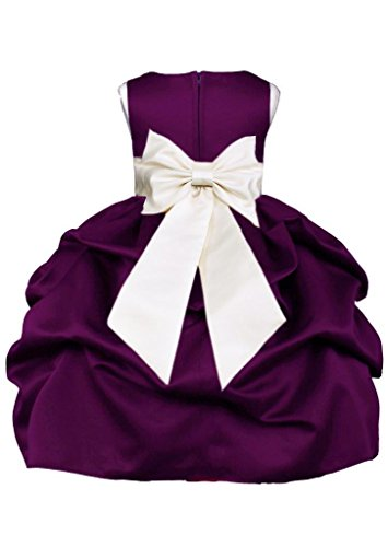 Wedding Pageant Plum Pick-Up Formal Flower Girl Dress With Bow (Kids Dress Plum)