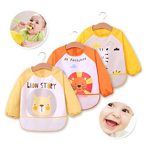 Baby Boys Girls Bibs Iuhan Baby Bibs Burp Cloths Waterproof Cartoon Kids Drawing Smock Feeding Accessories Yellow by Zegoo