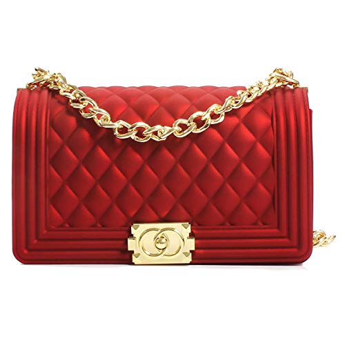 Poxas Women's Classic Crossbody Handbags Purse Shoulder Bags with Metal Chain (Large Red/Gold Chain) ()