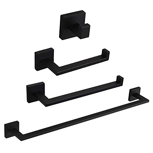 4 Pieces Bathroom Hardware Set Matte Black SUS 304 Stainless Steel Bathroom Hardware Accessories Sets Wall Mounted Towel Bar Towel Holder Hook Toilet Paper - Wall Set Toilet
