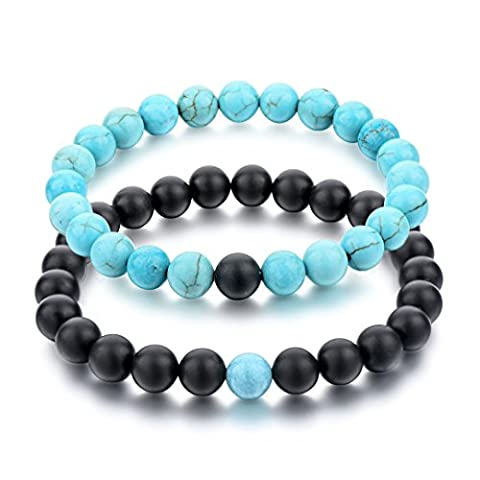 Long Way His and Hers Bracelets Black Matte Agate & Blue Turquoise 8mm Stone Beads Bracelet(2 pcs) (Her Healing Co)