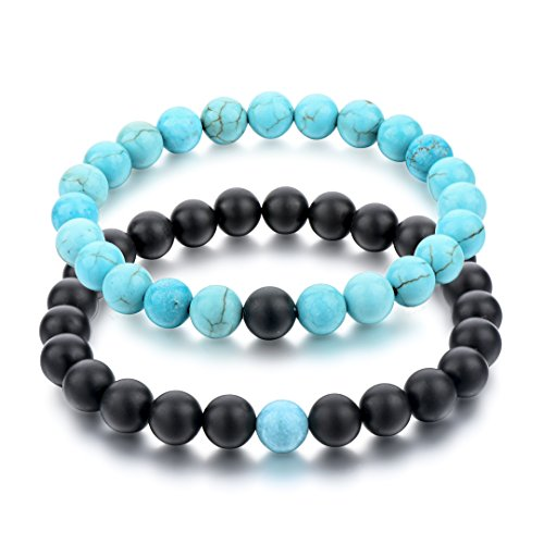 (Long Way His and Hers Bracelets Black Matte Agate & Blue Turquoise 8mm Stone Beads Bracelet(2 pcs))