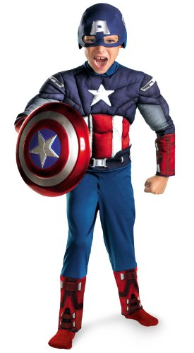 Kids Muscle Chest Captain America Halloween Costume (Large