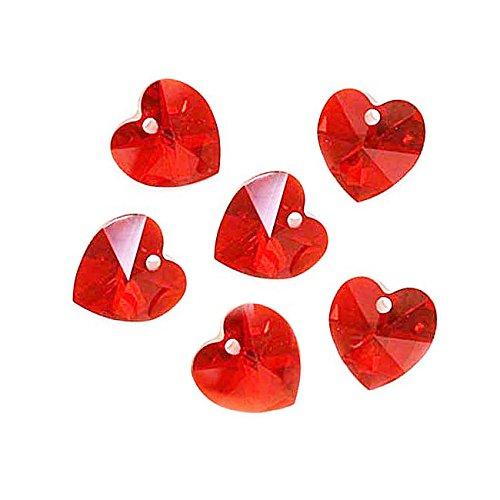 6 Swarovski Crystal Heart (Swarovski Crystal, #6228 Heart Pendants 10mm, 6 Pieces, Light Siam)