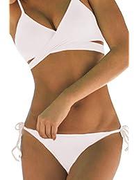 Women Push Up Criss Cross Bandage Padded Bikini Set Swimsuit