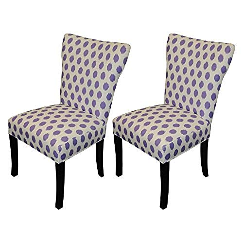 SOLE Designs Bella Collection Contemporary Fabric Upholstered Dining Room Wingback Chairs, Set of 2 Purple Thistle