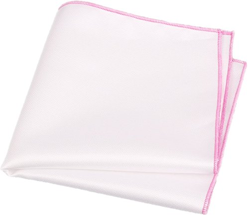 Flairs New York Gentleman's Essentials Weekend Casual White Pocket Square (Pocket Square Only, White / Flamingo Pink)