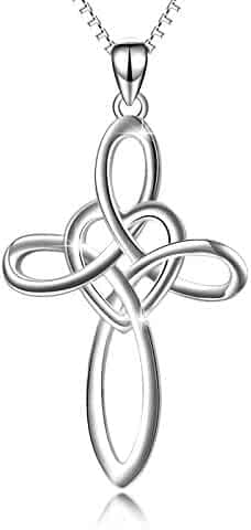 YFN Infinity Sign Jewelry 925 Sterling Silver Eternal Love Heart Celtic Knot Cross Pendant Necklace