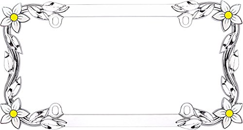 Cruiser Accessories 19130 Daisy License Plate Frame, (Silver Embossed Daisy)