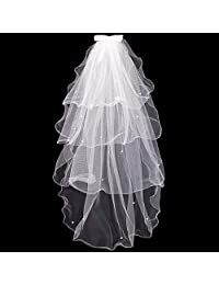 Keahup Tulle Wedding Dress Veils White Bowknot Bridal Multi Layer Hair Veil Comb Faux Pearls Bride Fairy Marriage Accessories