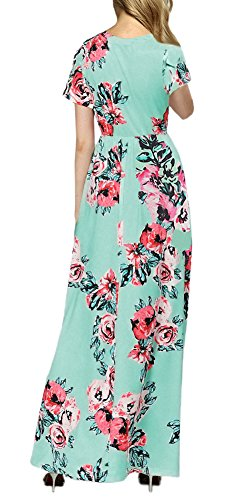 Dress Green Printed Pockets with Casual Loose Maxi Floral Short Women Sleeve Afibi qP8pw