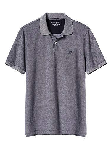 - Banana Republic Mens Standard Fit Two Button Birdseye Pique Cotton Polo Shirt Preppy Navy Blue (X-Large)