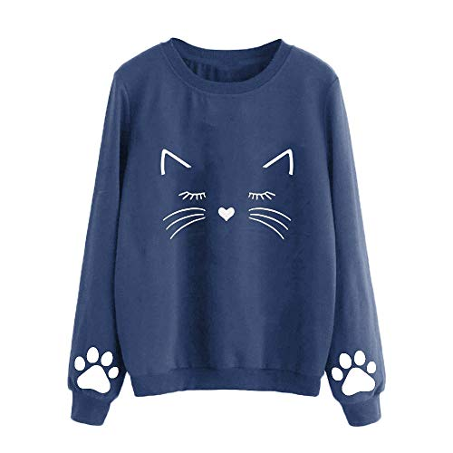 Pullover Sweaters for Women, Women's Cat Print Sweatshirt Long Sleeve Loose Pullover Shirt Navy]()