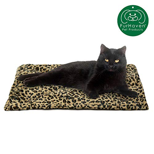 Furhaven Pet Dog Bed Heating Pad | ThermaNAP Quilted Faux Fur Insulated Thermal Self-Warming Pet Bed Pad for Dogs & Cats, Leopard Print (Bed Leopard Cat)