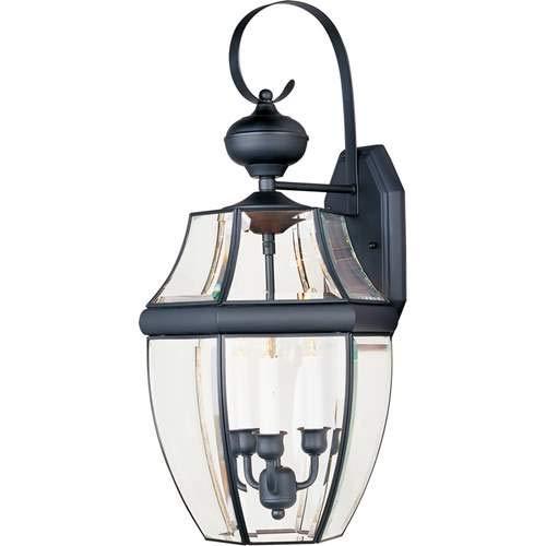 Maxim Lighting South Park Black 3-Light Outdoor Wall-Mounted Lantern 4192CLBK