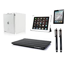 NOS®Wear White iPad 2 3 & 4 Hard Case Front Back Magnetic Smart Cover Wake/Sleep PU Stand Case + NOS® 2 x Black Stylus + Screen protector