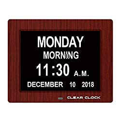 Clear Clock [Newest Version] Extra Large Digital Memory Loss Calendar Day Clock with Optional Day Cycle + Alarm Perfect for Seniors + Impaired Vision Dementia Clock (Mahogany)