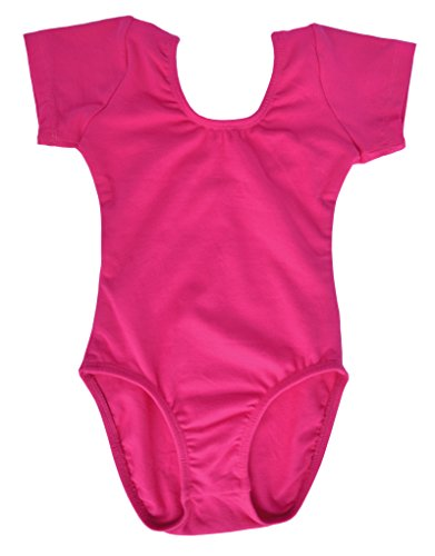 Ballet Unitard (Dancina Leotard Classic Short Sleeve Girls Ballet Dance and Rhythmic Gymnastics Unitard 6 Hot Pink)