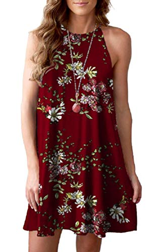 Feiersi Women's Summer Casual Sleeveless Floral Printed Swing Dress Sundress(Floral Wine Red,S)