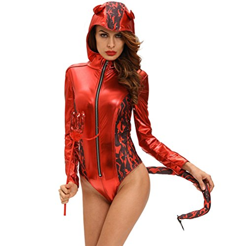 YeeATZ Women's Red Hot Devilish Hooded Romper Costume(Size,M) (Assassin Creed Costume For Kids Cheap)