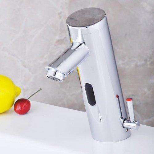 Lightinthebox Deck Mount Bathroom Sink Faucet Chrome Finish with Hydropower Automatic Sensor Hot and Cold Auto Sensor Bathtub Mixer Taps Roman Modern Bath Shower Faucet Single Hole Bar Faucets Vessel Sink Vanity Lavatory Plumbing Fixtures