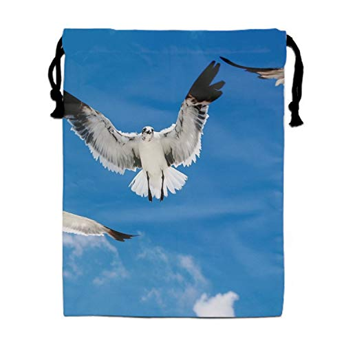 Luxury Jewelry Pouches Drawstring Gift Favor Bags Candy Bag, 15.75x11.8 Inch-Seagulls Attack