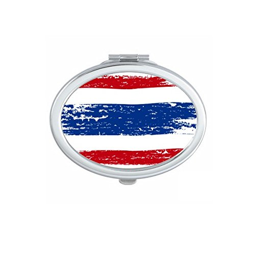 Kingdom of Thailand Thai Traditional Customs Watercolor Drawing Thailand Flag Art Illustration Oval Compact Makeup Pocket Mirror Portable Cute Small Hand Mirrors by DIYthinker