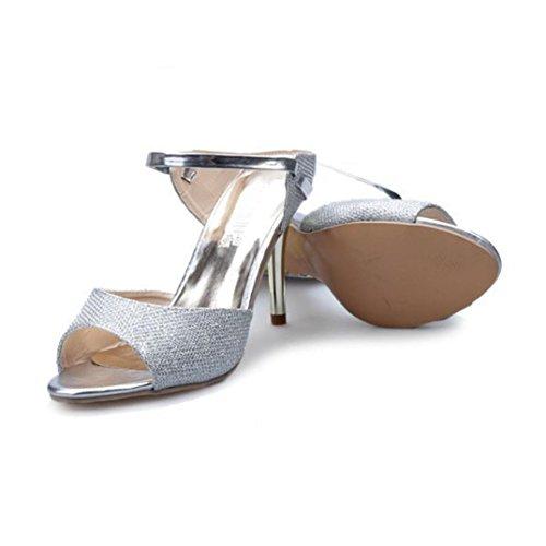 Bout La Hauts Femmes des Bouche Sandales à à by Oyedens Mode Poissons Ouvert Chaussures Argenté Talons wqCdBpXxO