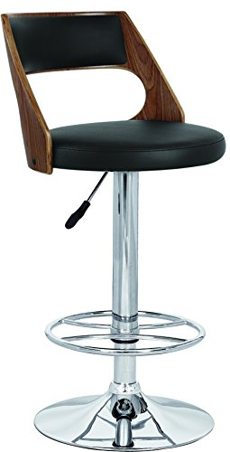 Creative Images International Modern Collection Height Adjustable PU Leather Swivel Bar Stool with Walnut Back and Gas Lift, Black ()