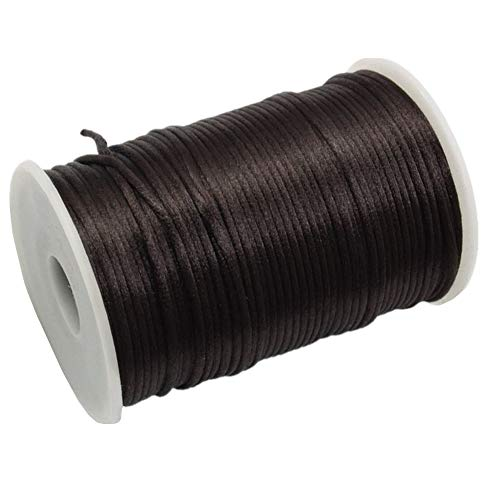 FQTANJU 2mm x 100 Yards Premium Quality Rattail Nylon Satin Cord Roll, Kumihimo Rattail,Chinese Knot, Brown (100 Tail Rat Yards Cord)