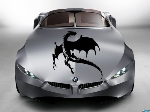 Dragon Angry Evil Hood Auto Vinyl Decal Art Sticker Graphics Fit Any Car (Lexus Lambo Doors)
