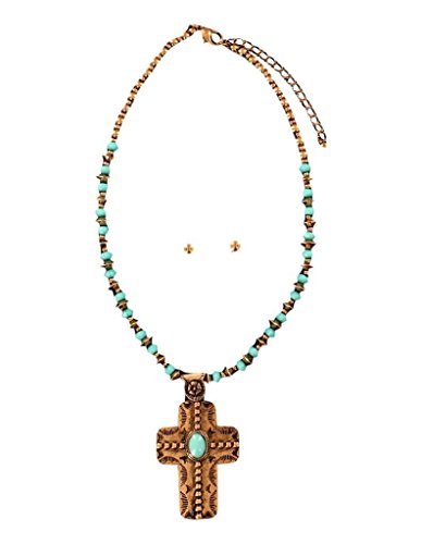 M&F Western Women's Copper Turquoise Beaded Cross Necklace/Earrings Set Copper/Turquoise One Size