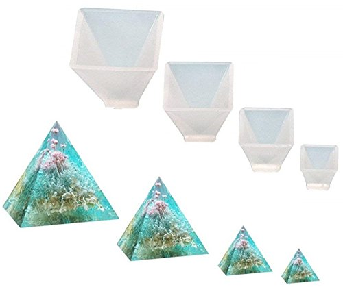 Pyramid Candle Mold - Garloy Pyramid Jewelry Casting Molds Silicone Resin Jewelry Molds for DIY Jewelry Craft Making, The Multi-Faceted Silicone Mold for Making Polymer Clay, Crafting, Resin Epoxy(Pack of 4)