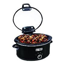 Crockpot Metallic Cooker with Hinged Lid, 6 quart, Black (SCCPVM600H-BI)