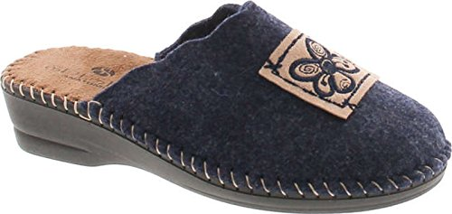 Slippers Hippie SC Natural Europe Made 15217 Flower Wool Womens in Collection Navy Home Cozy House ZqwqAxvYf