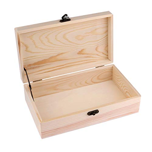 - Unfinished Wood Box, Dedoot Wood Jewelry Box with Locking Clasp Rectangle Wood Box Organizer for Crafting Gift Box Artist Tool and Brush Storage Box, 9.7x5.5x2.7 Inch