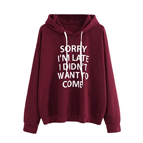 iDWZA Womens Fashion O-Neck Jumper Letter Print Sweatshirt Pullover Tops Hoodie(XL,Wine )