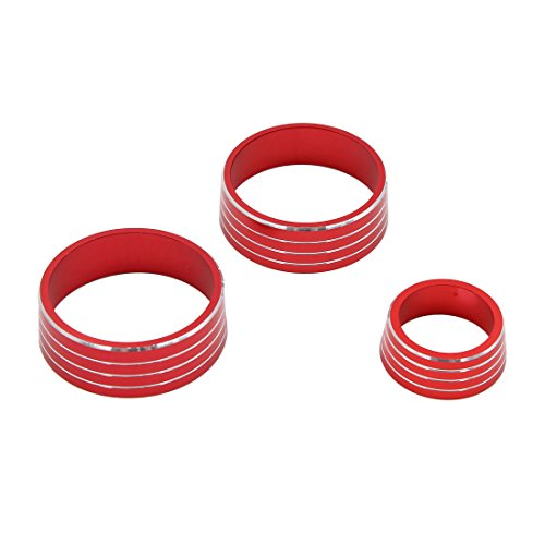 uxcell 3pcs Red Air Condition Audio Switch Decorative Ring Set for Honda City XRV by uxcell (Image #3)
