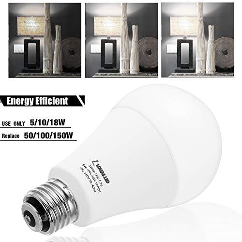 LOHAS 3-Way A21 LED Light Bulb 50/100/150W Equivalent, 5000K Daylight, Dimmable 3 Way LED Frosted Light Bulbs with E26 Medium Base for Floor Lamp, Night Stand Lamps, End Table, 600/1250/1850LM, 2Pack