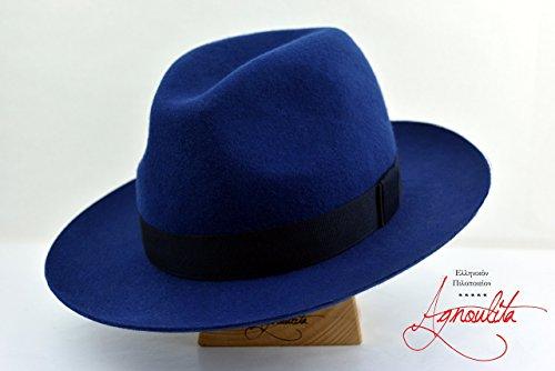 The Deep Blue - Wool Felt Western Handmade Fedora Hat - Wide Brim - Men Women by HNC-HatWorks