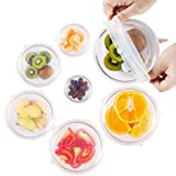 Silicone Stretch Lids Huggers Covers reusable for food with IMPROVED GRIP SEALER BPA free, 6 Pack of Various Sizes with Ebook by ExcelGadgets