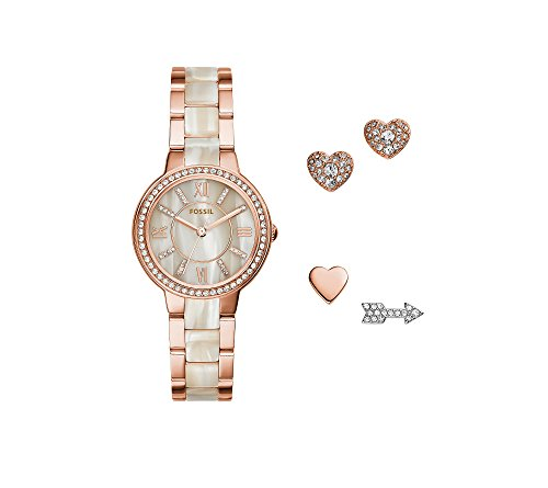 Fossil Women's 30mm Virginia Rose Goldtone Watch And Earrings (Fossil Set Wrist Watch)
