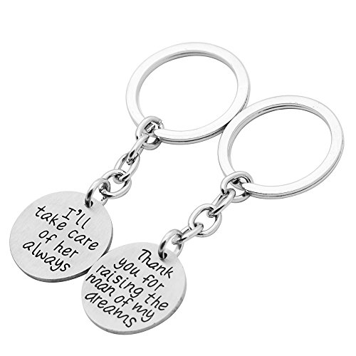 Couple Key Chain Ring Thank You For Raising The Man Of my Dreams I'll Take Care Of Her Always Matte (Thank Keychains Wedding You)