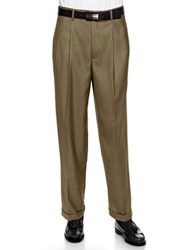 GIOVANNI UOMO Mens Pleate Front Traditional Fit Dress Pant Tan 46 Medium