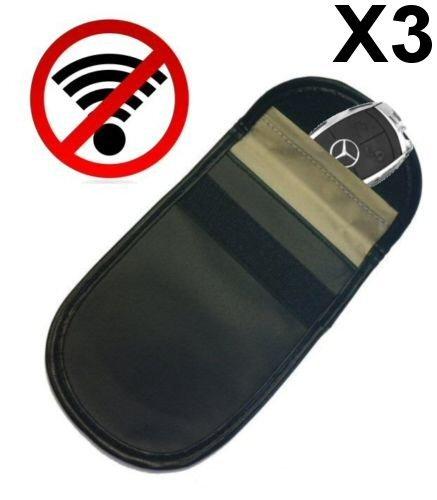 3 x sacchetti effetto gabbia di Faraday originali, blocca segnale, proteggi chiavi telecomando per auto dotate di funzione di avviamento senza chiave - Antifurto FFS