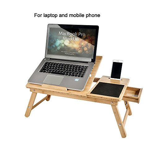 WELLAND Bamboo Laptop Desk Bed Serving Tray with Adjustable Legs
