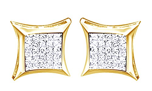14K Solid Yellow Gold Round Cut Diamond Hip Hop Cluster Stud Earrings (0.18 Cttw) by wishrocks