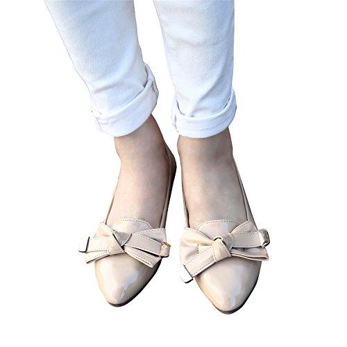 Smilun Women's Ballet Flats Ballerina Flat Ballet Loop Patent Leather Beige xKTHUE