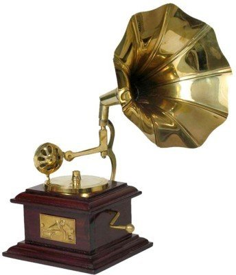 Craftgasmic Gramophone Wooden Brass Decorative Phonograph Does Not Play Record